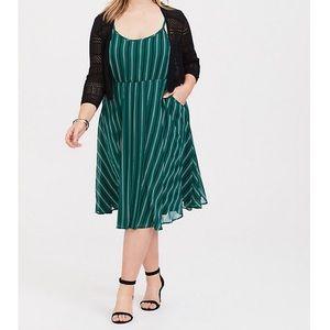 NWT Torrid Green Striped Chiffon Skater Dress
